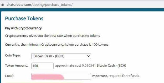 Top up your tokens with Bitcoin