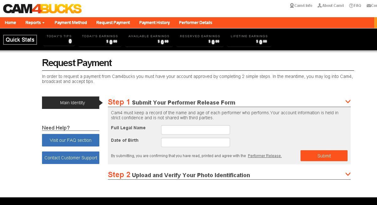 Cam4 payment step 2