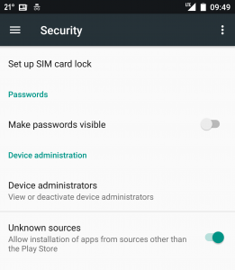 Security settings on phone - allow/disallow app installation from unknown sources