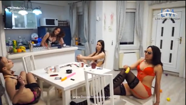 Cam girls at kitchen