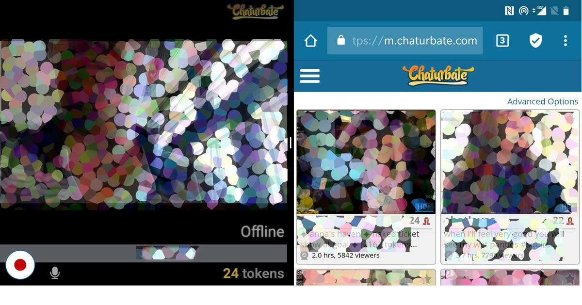 Screenshot of using Mobile Phone to do cam2cam on Chaturbate