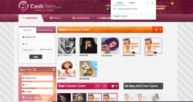 Using Chrome to translate Turkish site Canlialem.com