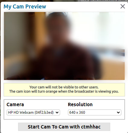 My Cam Preview Your cam will not be visible to other users. The cam icon will turn orange when the broadcaster is viewing you.