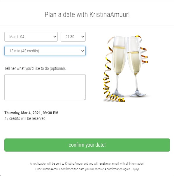 Fill in the form to ask for a date