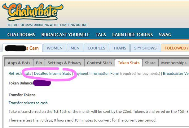 """Where to find """"Request Daily Payout"""" on Chaturbarte"""