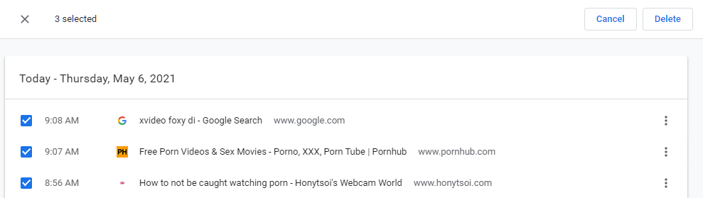 Choosing browser history to delete
