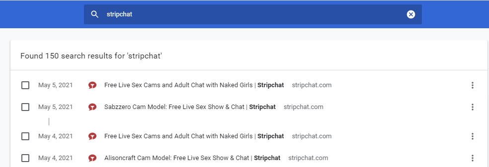 Remove all browser history of Stripchat