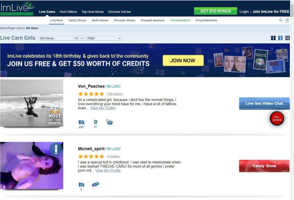 ImLive.com's retrospecitve design in the early 2000.